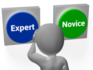 Expert Novice Buttons Show Professional Or Apprentice