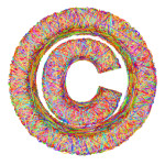 Copyright sign composed of colorful striplines isolated on white
