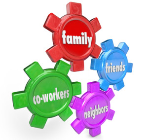 Family Friends Neighbors Co-Workers Support System Gears